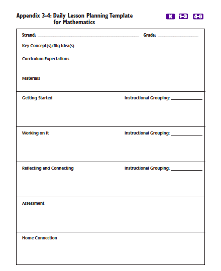 Daily Lesson Plans Making The Most Of Math - Daily lesson plan template for kindergarten